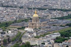 Les Invalides. Beautiful Les Invalides in Paris, France is seen int his aerial view Stock Photo