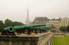 Les invalides canons. Magnific view of Les invalides canons and Eiffel Tower Stock Photo
