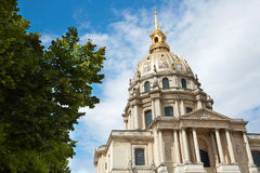 Les Invalides cathedral dome in Paris Stock Images
