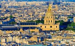 Вид с воздуха Les Invalides от Eiffel Towe Стоковое Фото