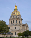 Les Invalides hospital and chapel dome. PARIS, FRANCE 10 26 14: Les Invalides hospital and chapel dome. Les Invalides as the burial site for some of France's Royalty Free Stock Image