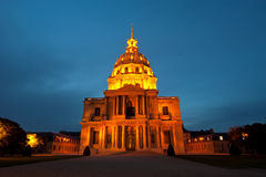 Les Invalides (The National Residence of the Invalids) at night Royalty Free Stock Images