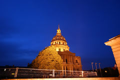 Les Invalides (The National Residence of the Invalids) at night Stock Image