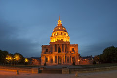 Les Invalides at night- Paris, France Stock Images