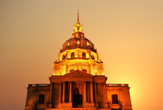 Les Invalides at night- Paris, France Stock Image