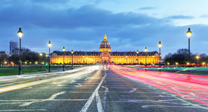 Les Invalides at night - Paris, France Royalty Free Stock Photo