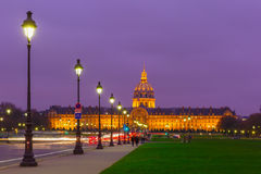 Les Invalides at night in Paris, France Stock Photography