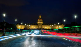 Les Invalides at night Royalty Free Stock Photos