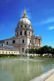 Les Invalides, Paris. With water in front. Place of the tomb of Napoleon Bonaparte royalty free stock images