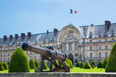 Les Invalides, Paris, France. Historic cannon in the garden next to Les Invalides museum in Paris, France Stock Images