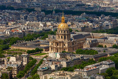 Les Invalides and parisian roofs. Royalty Free Stock Images