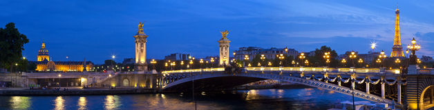 Les Invalides, Pont Alexandre III and the Eiffel Tower in Paris Stock Photo