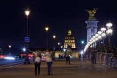 Les Invalides przy nocą (Krajowa siedziba Invalids) fotografia stock