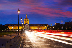 Les Invalides sunset facade in Paris France Royalty Free Stock Photos