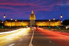 Les Invalides sunset facade in Paris France Royalty Free Stock Image