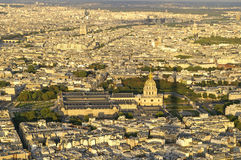 Les invalids. Paris.Les Invalids view from the Eiffel Tower. Under the dome lies the tomb of the emperor Napoleon I. In the background the river Seine and the Royalty Free Stock Images