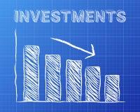 Les investissements Blueprint vers le bas Photographie stock libre de droits