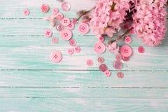 Les jacinthes et les fleurs de saule et les boutons roses sur la turquoise font souffrir Images libres de droits