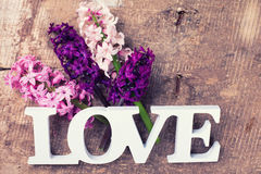 Les jacinthes fraîches de ressort fleurit et l'amour de mot sur le vintage en bois Photographie stock libre de droits