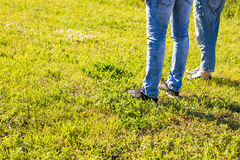 Les jambes élégantes de couples sur l'herbe ensoleillée dans le pré en été, voyagent ensemble le concept, l'espace pour le texte Image libre de droits