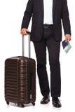 Les jambes de l'homme d'affaires et la valise de voyage Photos libres de droits