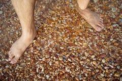 Les jambes et les pieds se sont noyés dans la pierre de rouge de mer Photographie stock