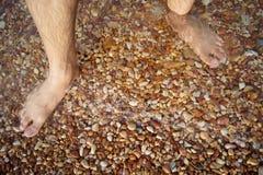 Les jambes et les pieds se sont noyés dans la pierre de rouge de mer Photos libres de droits