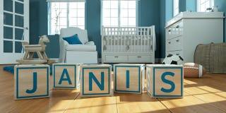 Les janis de nom écrits avec les cubes en bois en jouet chez la pièce du ` s des enfants Photos stock
