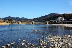 Les Japonais célèbres wodden le pont/Kintaikyo image libre de droits