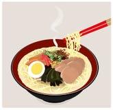 Les Japonais ramen des nouilles. Image libre de droits