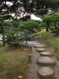 Les Japonais traditionnels flânent le jardin avec la voie de pierre de progression image libre de droits