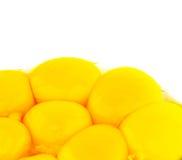 Les jaunes d'oeuf se ferment vers le haut de la vue I Images libres de droits