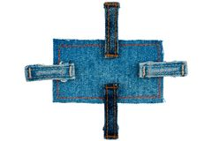 Les jeans marquent avec quatre courroies D'isolement Photos libres de droits