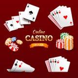 Les jetons de poker d'éléments de conception de casino, jouant carde et chie Emblème de tisonnier Photo stock