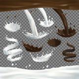 Les jets de lait et de chocolat éclabousse, se laisse tomber et éponge illustration libre de droits