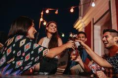 Les jeunes à la partie grillant des bières Photos libres de droits