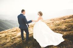 Les jeunes épousent nouvellement des couples, baisers de jeunes mariés, étreignant sur la vue parfaite des montagnes, ciel bleu Photos libres de droits
