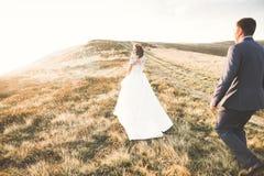 Les jeunes épousent nouvellement des couples, baisers de jeunes mariés, étreignant sur la vue parfaite des montagnes, ciel bleu Photographie stock