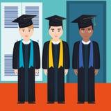 Les jeunes étudiants ont reçu un diplôme des caractères de diversité illustration libre de droits