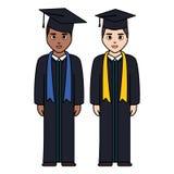 Les jeunes étudiants ont reçu un diplôme des caractères de diversité illustration de vecteur
