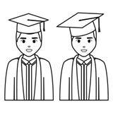 Les jeunes étudiants ont reçu un diplôme des caractères de diversité illustration stock