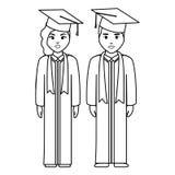 Les jeunes étudiants ont reçu un diplôme des couples de diversité illustration de vecteur