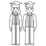 Les jeunes étudiants ont reçu un diplôme des couples de diversité illustration stock