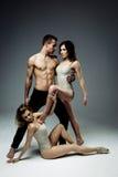 Les jeunes acrobates modernes flexibles couplent la pose dans le studio images libres de droits