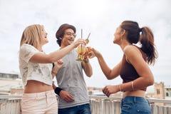 Les jeunes appréciant des cocktails à une partie Images stock