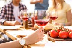 Les jeunes avec des verres de vin à la table dehors Photo libre de droits