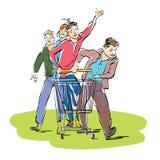 Les jeunes avec un chariot d'épicerie Image libre de droits