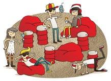 Les jeunes ayant l'amusement sur le jabooz illustration stock