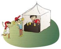 Les jeunes ayant la bière potable d'amusement illustration de vecteur