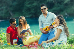 Les jeunes ayant le pique-nique près de la rivière Image libre de droits